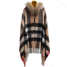 Wholesale Lady Elegant Raccoon Fur Collar Cashmere Double Knitted Shawl with hood