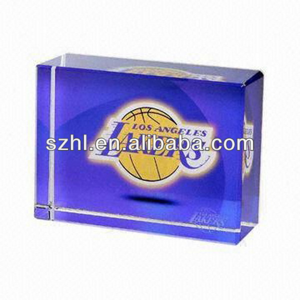 Cube acrylic paperweight with lakers logo acrylic display paperweight