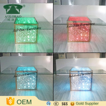 Flower pattern led light square stainless steel table with glass top