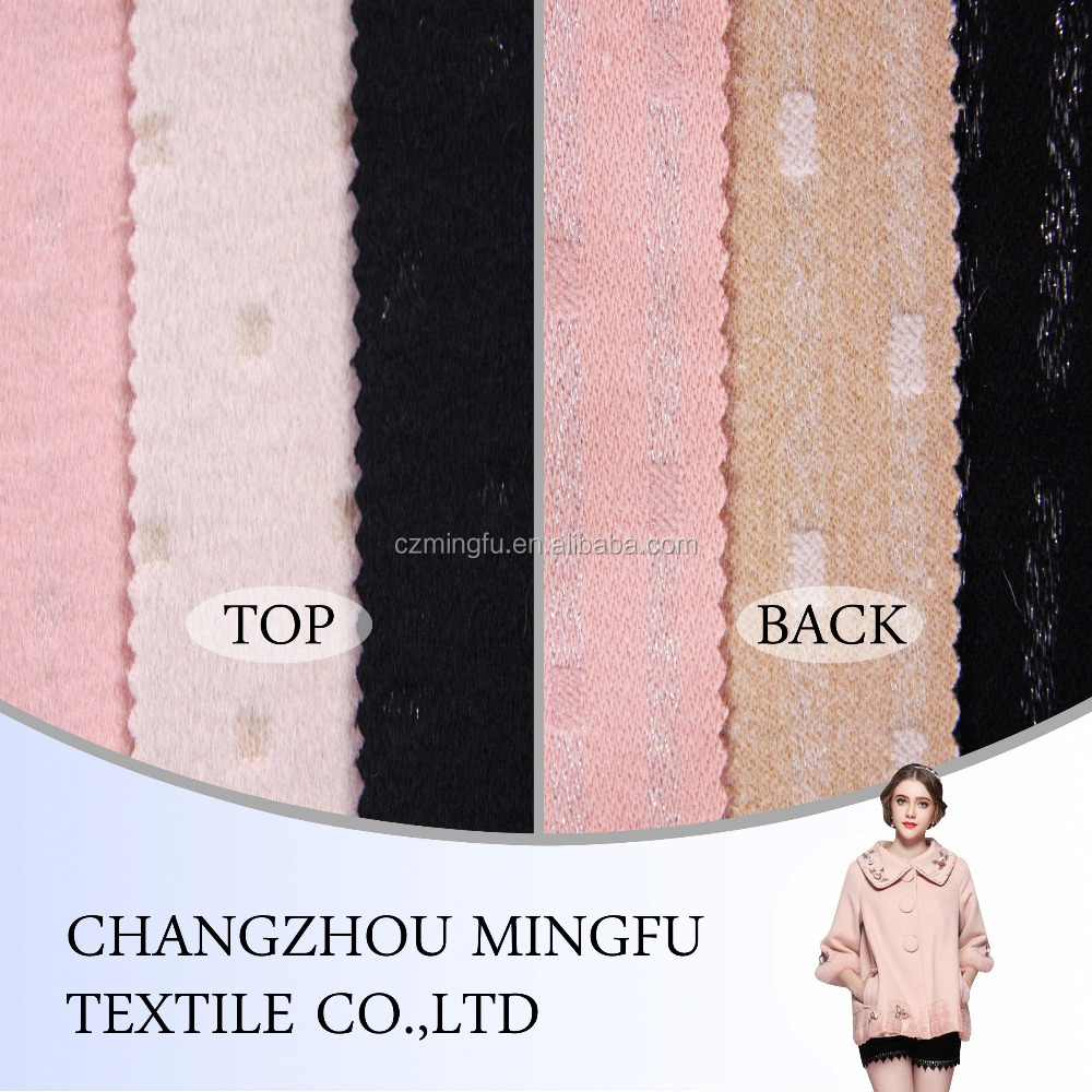 2015 MINGFU silver fiber jacquard or print wool acrylic blend fabric, wool polyester fabric