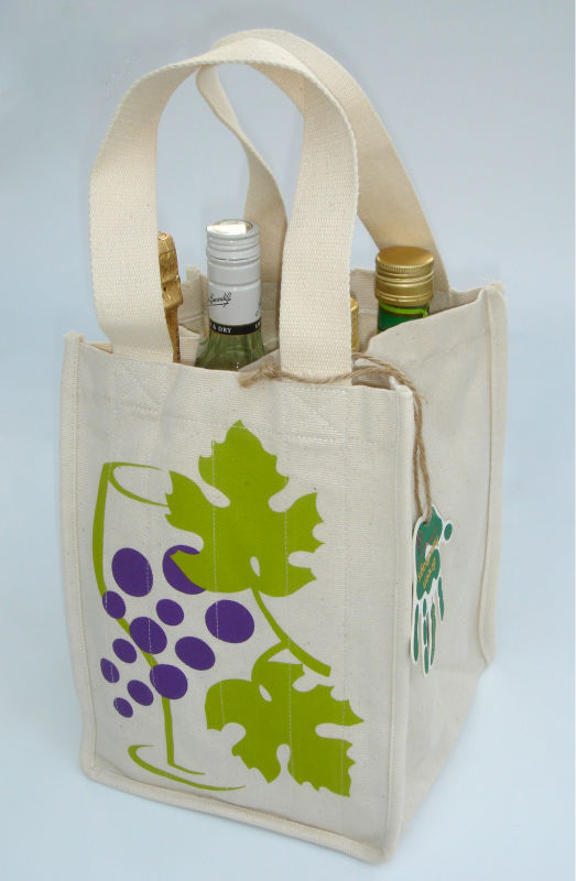 4 BOTTLE WINE BAG 100% PERUVIAN ORGANIC COTTON RE-USABLE