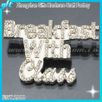 Best selling Rhinestone silver letter safety pin badges Crystal Badge pins