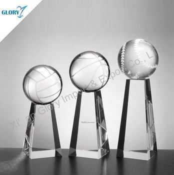 Cylinder shape crystal trophy for sports from factory