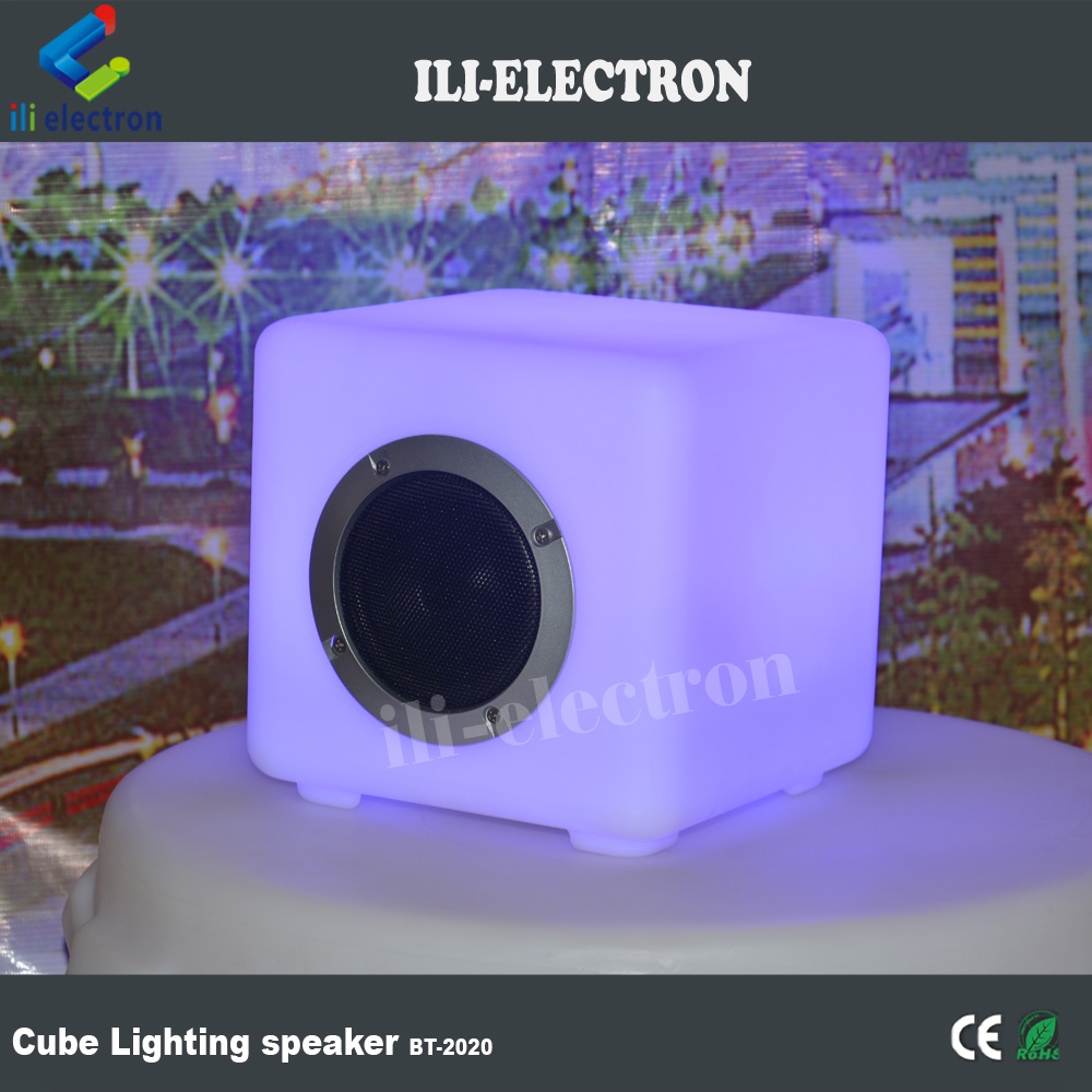 Eco-friendly cuboid PE plastic LED bluetooth speaker