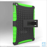 Kickstand kids proof pc+silicine combo cover case for Ipad 4 / 3 / 2
