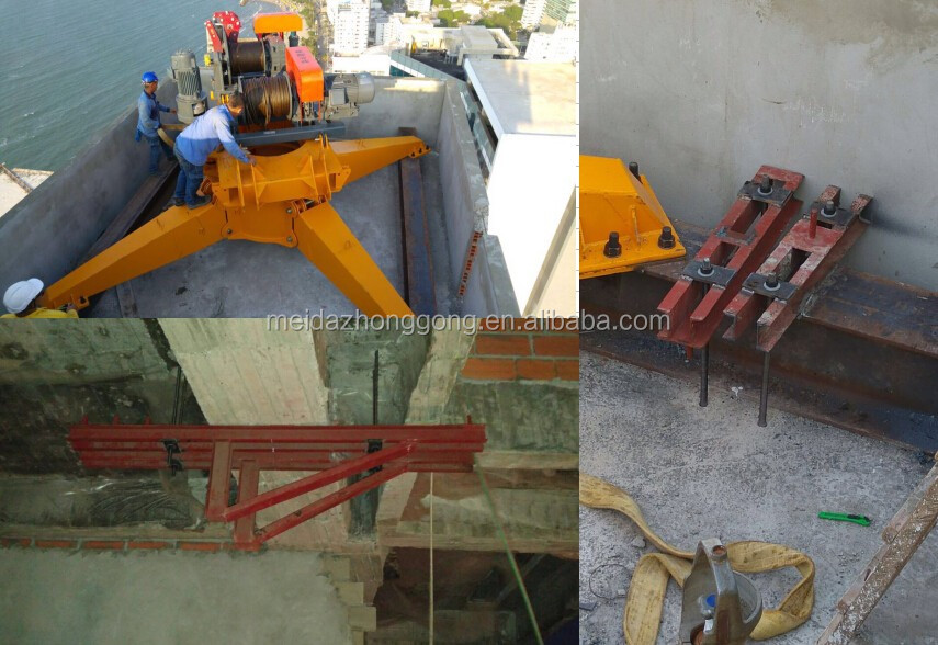 Widely used in India 4ton 6ton QD2420 24m Jib Roof Top Derrick Crane for Sale