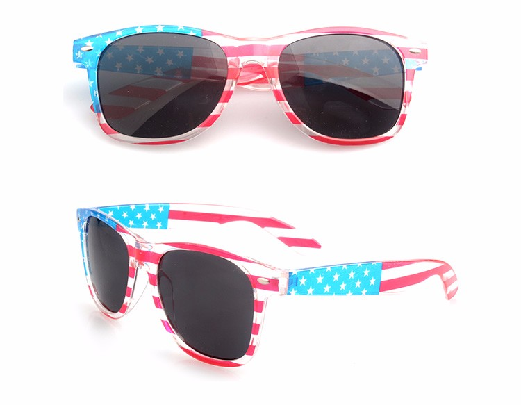 Promotional high quality YNJN no brand custom logo adult american flag sunglasses