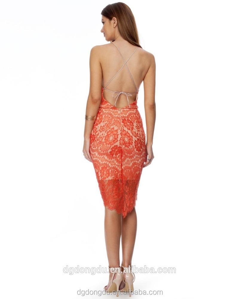 Slim fit elegant lace floral slender strap cocktail dress for Cocktail 1789