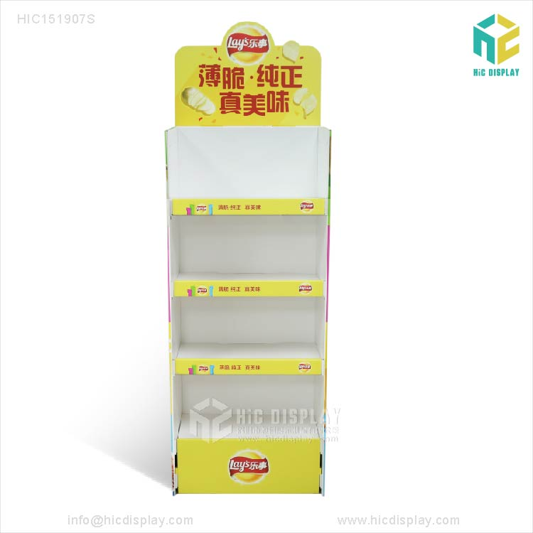 Supermarket Promotion cardboard display stand For Lays Potato chips