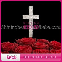 clear soldering cross rhinestone cake topper wholesale wedding/birthday decoration