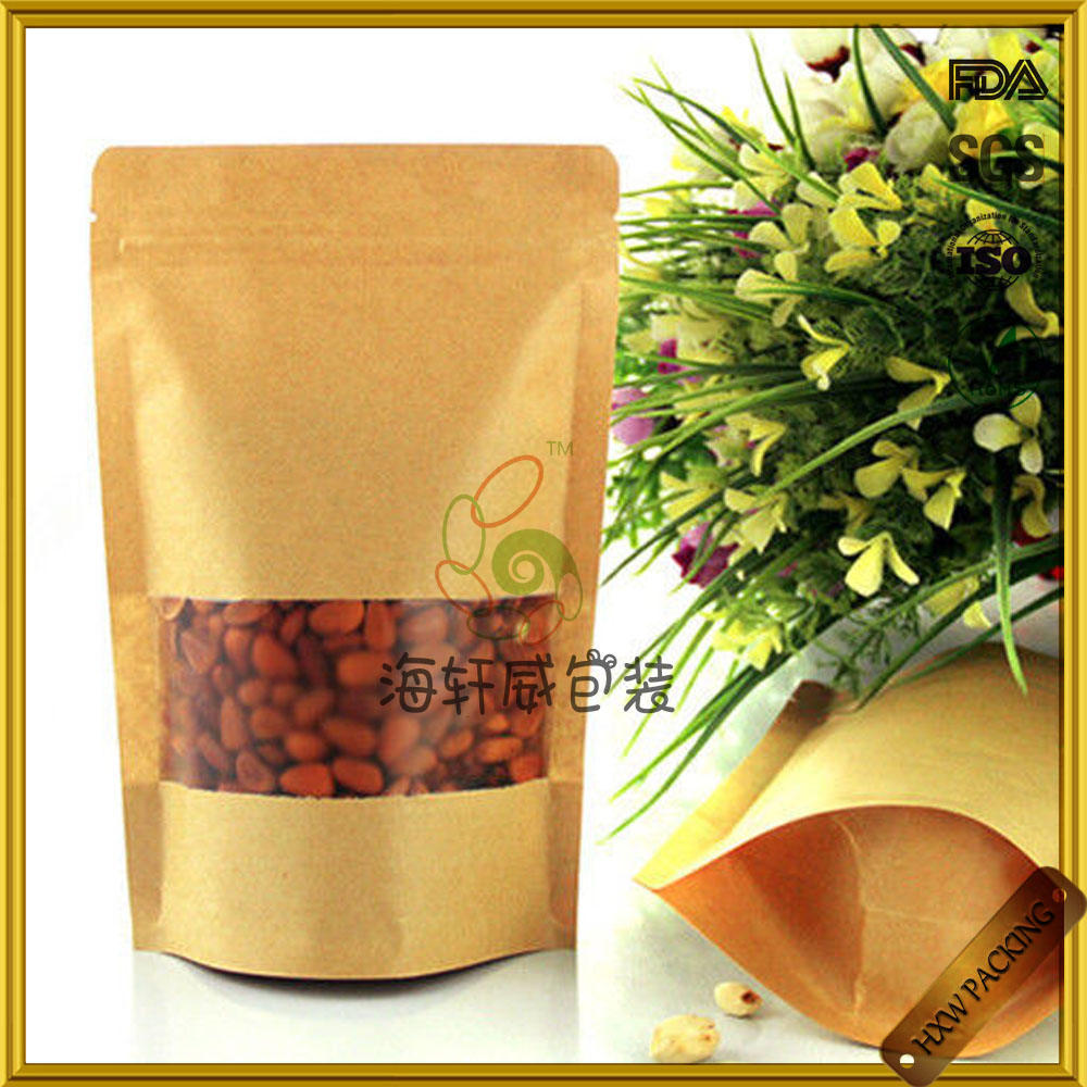 plain biodegradable brown kraft paper with clear window for food packaging bag