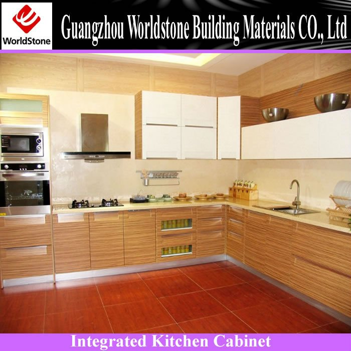 integrated kitchen cabinet made by solid wood and solid surface