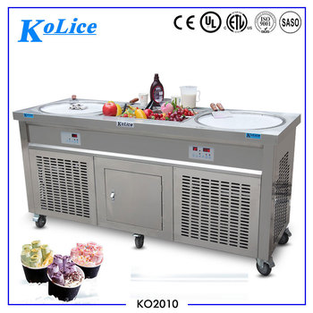 Double round pan fry ice cream roll machine with 10 toppings for commercial use