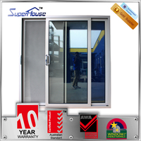 Superhouse 2014 new design aluminium double sliding doors with temple glass