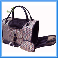 Houndstooth Print Tote Pet Dog Cat Carrier/Shoulder Purse With Matching Treats Purse Travel Airline Bag Black/Brown
