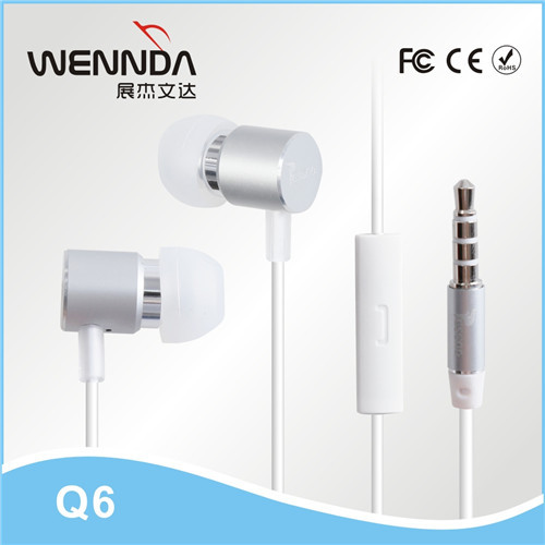 stereo earphone for iphone earphone with Mic For iPhone 5 4 3GS iPod iPad (Wennda Q6)