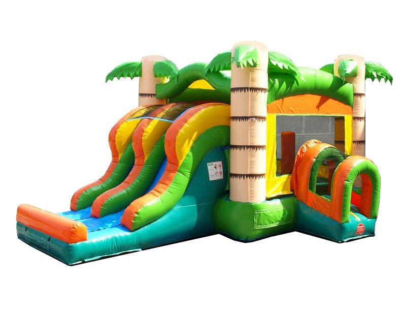 Kids Tropical Bounce House and Double Lane Slide Combo with pool bounce house