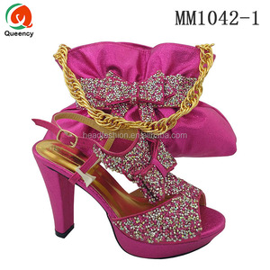 MM1042 Queency African Nigeria Party Ladies Shoes and Hand Bags Set with Shiny Stones