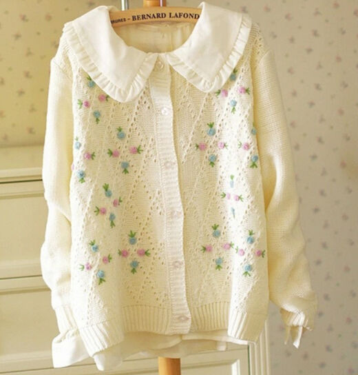 C84006A Sweet lady cardigan,Mori girl's cardigan,Loose diamond embroidered round neck sweater
