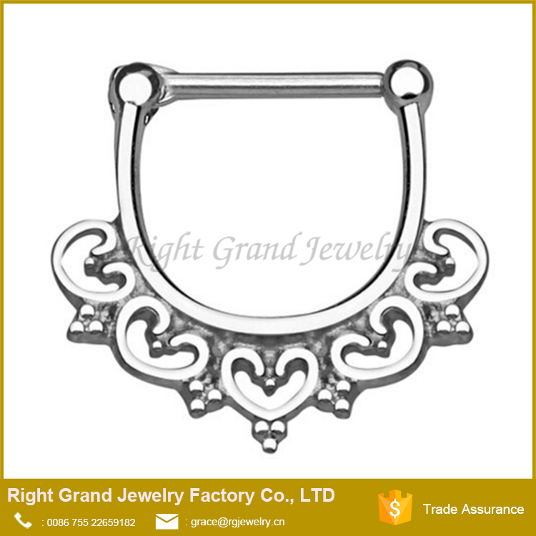 Surgical Steel Heart Septum Clicker Pierced Nose Rings 14g 16g
