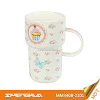 Elegant 340ml New Bone China Funny Coffee Mugs with Cake Design