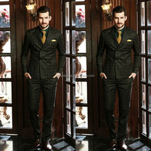 Hot Sale 2014 Coat Pants Men Suit For Wedding Two Rows Button Plaids&Checks Attractive Men's Business Suits NB0551