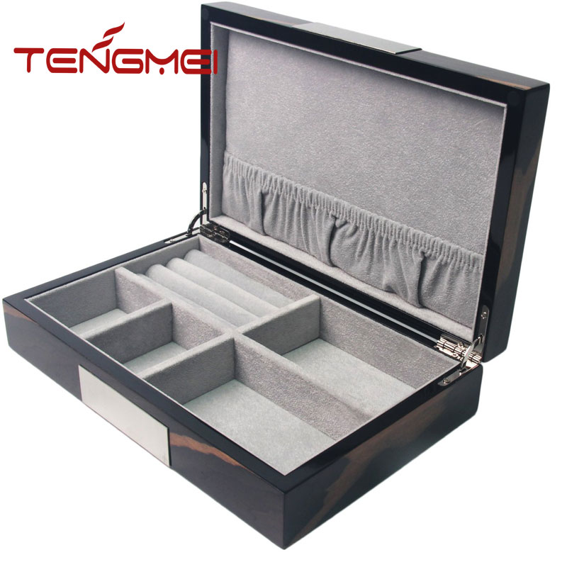 Wooden desk organizer box storage case for sunglasses jewelry watches
