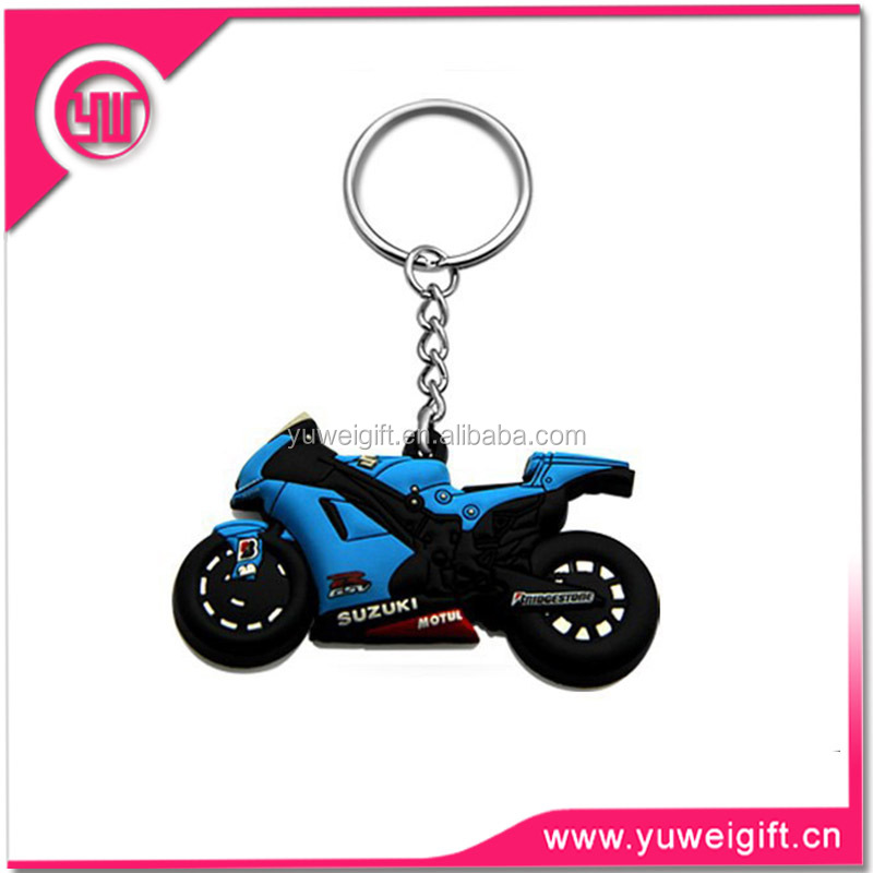 OEM 2D custom pvc soft rubber keychains motorcycle