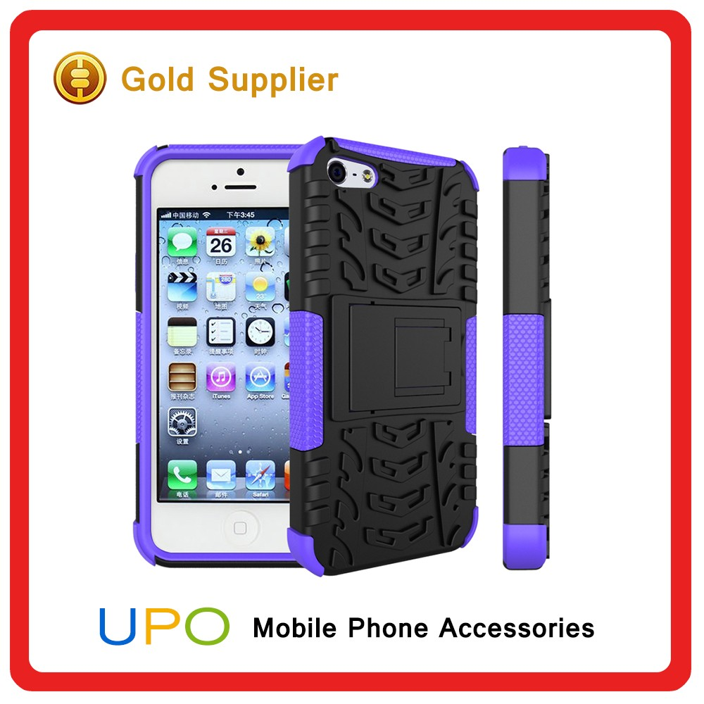 [UPO] New Style Dual Layer Combo Hyun Pattern Back Cover Case for iPhone 5 5s with Stand Holder