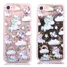 Cell Phone Case Dreamlike Unicorn Style Hard Plastic Quicksand inside Liquid Phone Case for iPhone 7 plus for iPhone 7 case