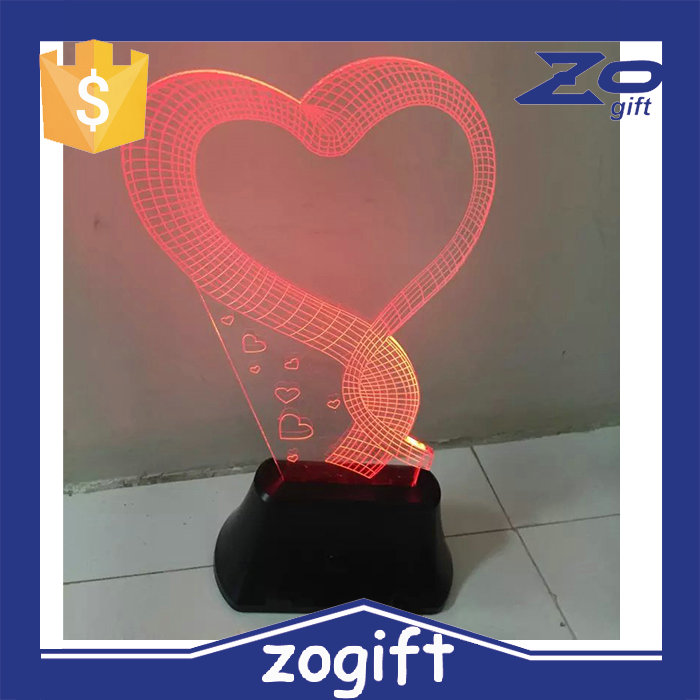 ZOGIFT 2016 top sale optical illusion 3d led lamp/3d led lighting lamp