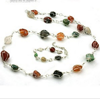 Natural Stone Jewelry, Fashion Wire Wrapped Agate Necklace, Semi-precious Stone Jewelry Necklace