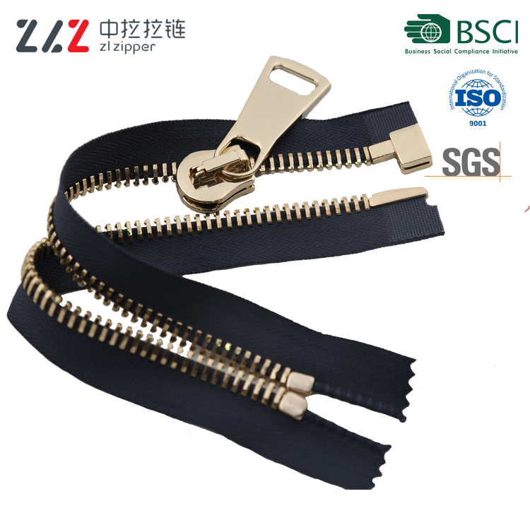 ZL15# GL bevel teeth open-end light gold green standard metal zipper easy to pull smoothly