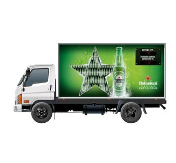 show an unlimited number of slides or video files on all three sides of the truck body with LED panel