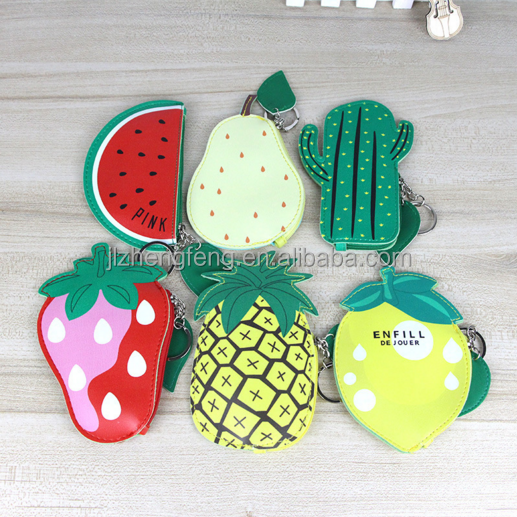 Cartoon cute mini coin purse female PU leather coin bag Korean creative fruit children wallet