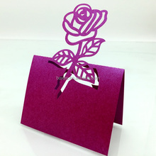 Wholesale rose flower laser cut out place card wedding table card favor card