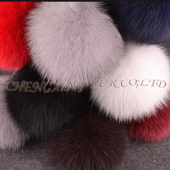CX-A-63 New Promotional Fox Fur Ball Fur Pom Keychain with Fur Pompom