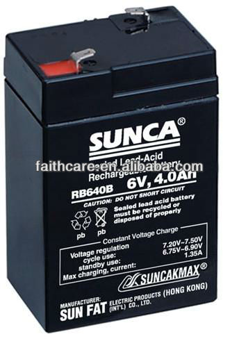SUNCA Sealed Lead-Acid Rechargeable Battery RB640B/6V4.0B