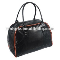 black PU leather waterproof travel bag for men