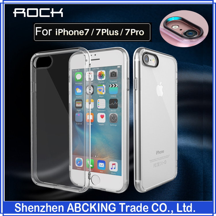 ROCK Pure Series PC Back Cover TPU Frame Protective Case For Apple iphone 7 / 7Plus / 7 Pro Crystal Clear Phone Case