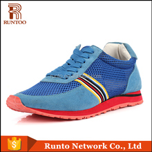 Runto brand sport shoes made in GuangZhou upper suede leather and mesh sport shoes size from35-44 Couple shoes sneakers