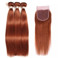 Cheap double drawn silky straight hair raw brazilian hair extensions color #33 3 bundles with closure