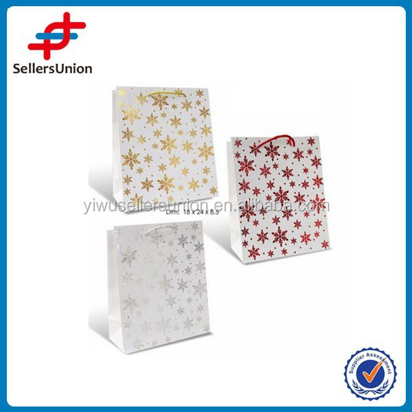 "Christmas flower gift paper bags ""S"",fancy paper bags, 3 colors cheap paper gift bags with ribbon handles"