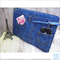 The flip leather smart cover case for ipad mini 3 air wallet design leather case for ipad mini 3 jeans holster folding