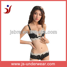 Junior sexy fancy bra panty set, lovely spot print nlyon lace edge bra and boxer shorts panties