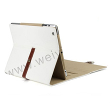 WYIPD-ABB028 with Leather Belt+buckle White Pu Leather Case for iPad Mini 2 Leather Case