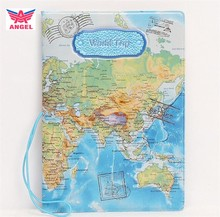 Fashion journey 3D PVC synthetic leather travel map passport cover