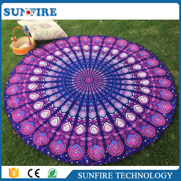 2017 New Style Gradient Flowers Mandala round beach towels swimming blanket