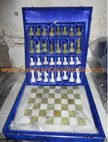 HAND CARVED ONYX CHESS BOARDS WITH FIGURES