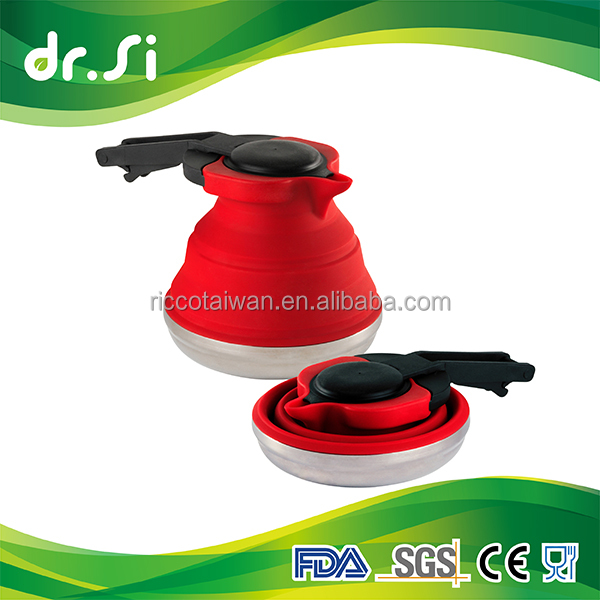 Silicone collapsible tea pot stainless steel water travel kettle